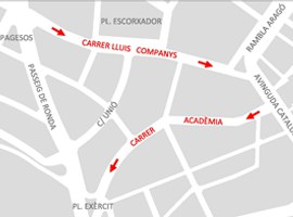 Imatge de la notícia L'Ajuntament de Lleida implementa a partir de dimecres els sentits únics de circulació al Carrer Lluís Companys i Acadèmia amb l'objectiu de millorar la mobilitat al barri