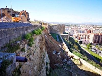 Comencen els treballs per sanejar i assegurar la part de la muralla de la Seu Vella afectada per l'esllavissada