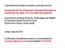 Presentació del Pla d'Ordenació Urbanística Municipal de l'Ajuntament de Lleida. Per una ciutat més sostenible.