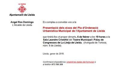 Presentació dels eixos del Pla d'Ordenació Urbanística Municipal de l'Ajuntament de Lleida