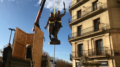 Comença la restauració integral de l'escultura d'Indíbil i Mandoni