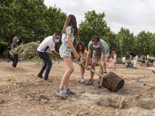 Imatge de la notícia Plantació popular d'un centenar d'alzines a la nova zona verda del carrer Alcalde Pujol