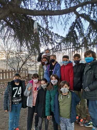 Imatge de la notícia L'alumnat de l'Escola Frederic Godàs penja menjadors d'aus als arbres del pati