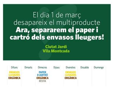 El model de recollida porta a porta a Ciutat Jardí i Vila Montcada canvia a partir de l'1 de Març