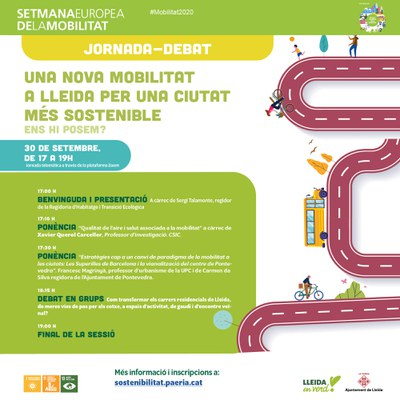 """La Paeria organitza la jornada de debat """"Una nova mobilitat a Lleida. Per una ciutat més sostenible i saludable."""""""
