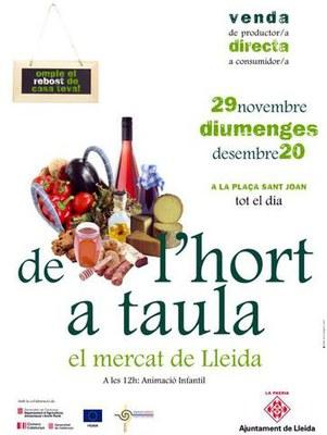 Lleida acollirà el mercat de proximitat 'De l'hort a taula'