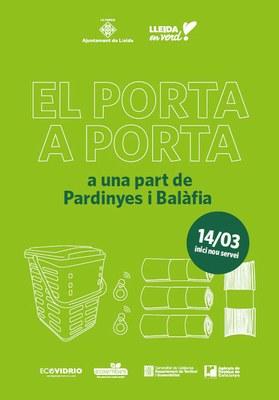 Lleida inicia diumenge la recollida selectiva de residus porta a porta en una zona de Pardinyes i Balàfia