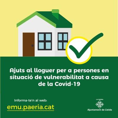 Oberta la convocatòria d'ajuts al lloguer de fins a 450 euros mensuals per a persones en vulnerabilitat