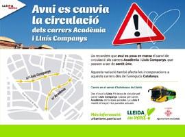 Imatge de la notícia Entren en funcionament els canvis de circulació a Lluís Companys i Acadèmia
