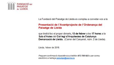 Imatge del event Presentació de l'Avantprojecte de l'Ordenança del Paisatge de Lleida