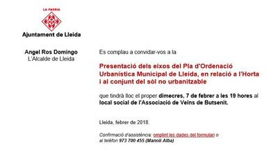 Presentació dels eixos del Pla d'Ordenació Urbanística Municipal de Lleida, en relació a l'Horta i al conjunt del sòl no urbanitzable